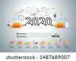 creative pencil design on... | Shutterstock .eps vector #1487689007
