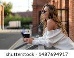 caucasian girl in white sweater ... | Shutterstock . vector #1487694917