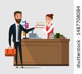 businessman in bookstore flat... | Shutterstock .eps vector #1487708084
