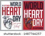 world heart day. vector... | Shutterstock .eps vector #1487766257