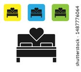 black bedroom icon isolated on...