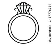 ruby gold ring icon. outline... | Shutterstock .eps vector #1487776394
