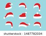 santa claus hat flat set....   Shutterstock .eps vector #1487782034