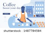 landing page template of coffee ... | Shutterstock .eps vector #1487784584