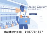 landing page template of online ... | Shutterstock .eps vector #1487784587