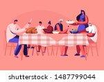 big family thanksgiving... | Shutterstock .eps vector #1487799044