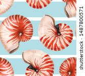 Watercolor Pattern Of Nautilus...