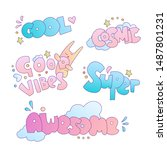 positive cute cartoon little... | Shutterstock .eps vector #1487801231