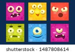 funny monsters set  colorful... | Shutterstock .eps vector #1487808614