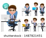 business office desk vector... | Shutterstock .eps vector #1487821451