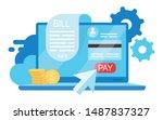 bill pay flat vector...   Shutterstock .eps vector #1487837327