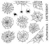 cobweb. halloween monochrome... | Shutterstock .eps vector #1487838047