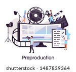preproduction flat concept icon.... | Shutterstock .eps vector #1487839364