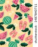fresh modern melon flower... | Shutterstock . vector #1487840711