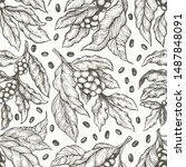 coffee tree branch seamless... | Shutterstock .eps vector #1487848091
