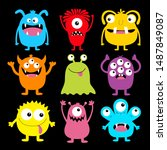 cute monster colorful round... | Shutterstock .eps vector #1487849087