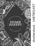 bread and pastry banner. vector ... | Shutterstock .eps vector #1487851457