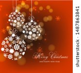 merry christmas and happy new... | Shutterstock .eps vector #1487863841