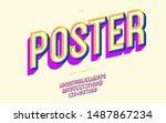 vector poster font 3d bold... | Shutterstock .eps vector #1487867234