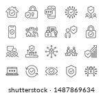 security line icons. cyber lock ... | Shutterstock .eps vector #1487869634