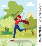 Bright Banner Girl Runs In Park ...