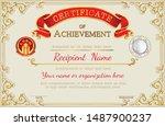 vintage retro frame certificate ... | Shutterstock .eps vector #1487900237