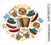 set oktoberfest hand drawn... | Shutterstock .eps vector #1487905571