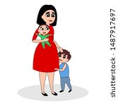 mother with two children. she... | Shutterstock .eps vector #1487917697
