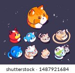 big set of cute cats planets in ... | Shutterstock .eps vector #1487921684