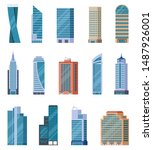 Flat Skyscrapers. Exterior Of...