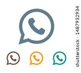 phone handset icon in speech... | Shutterstock .eps vector #1487932934