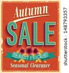 autumn sale. vintage card.... | Shutterstock .eps vector #148793357