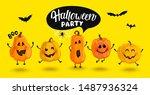 monster pumpkins invite to... | Shutterstock .eps vector #1487936324