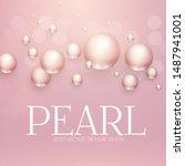 elegant 3d pink pearls. pearl...   Shutterstock .eps vector #1487941001