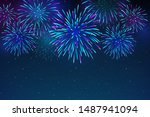 colorful fireworks on a dark... | Shutterstock .eps vector #1487941094