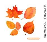 Watercolor Autumn Leaf Set....