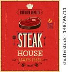vintage steak house poster.... | Shutterstock .eps vector #148796711