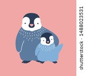 penguin cuddling its baby or... | Shutterstock .eps vector #1488023531