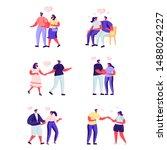 set of flat people love couple...   Shutterstock .eps vector #1488024227