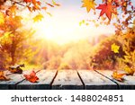 autumn table with red and... | Shutterstock . vector #1488024851