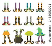 Witches Legs Flat Vector...