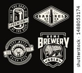 vintage brewery emblems with... | Shutterstock .eps vector #1488053174