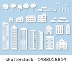 paper buildings. origami city... | Shutterstock .eps vector #1488058814