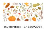 autumn set. collection of hand... | Shutterstock .eps vector #1488092084
