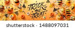 Stock vector happy halloween trick or treat poster with halloween ghost balloons scary air balloons and 1488097031