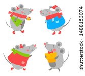 set of smiling mouse in clothes ...   Shutterstock .eps vector #1488153074