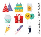 set of cute funny birthday... | Shutterstock .eps vector #1488154247