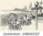 restaurant terrace on the beach ... | Shutterstock .eps vector #1488165107