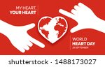 hands  shape red heart over the ... | Shutterstock .eps vector #1488173027