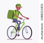 bicycle delivery black boy.... | Shutterstock .eps vector #1488221831